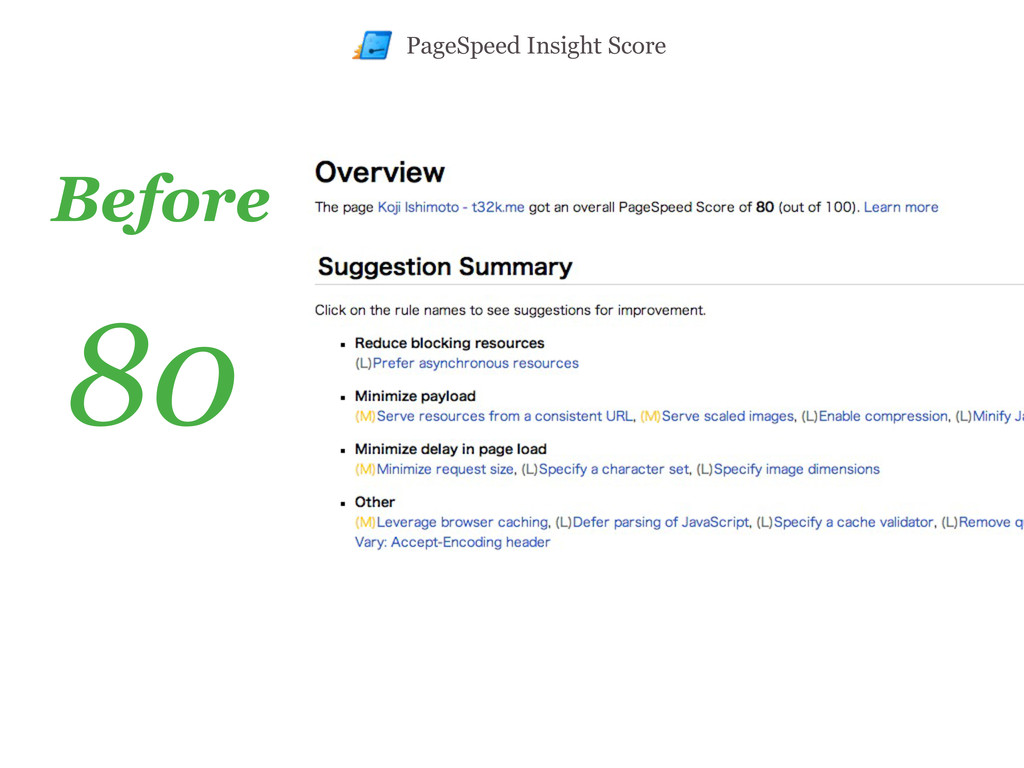 Before 80 PageSpeed Insight Score