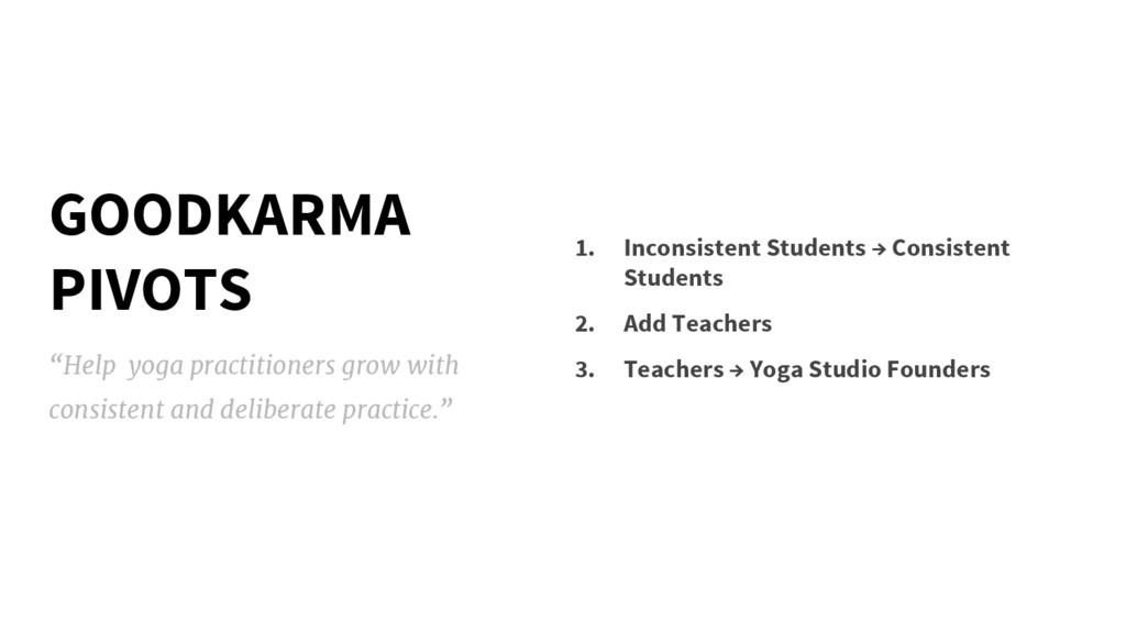 GOODKARMA PIVOTS 1. Inconsistent Students → Con...