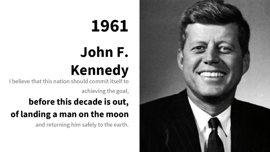 1961 John F. Kennedy I believe that this nation...