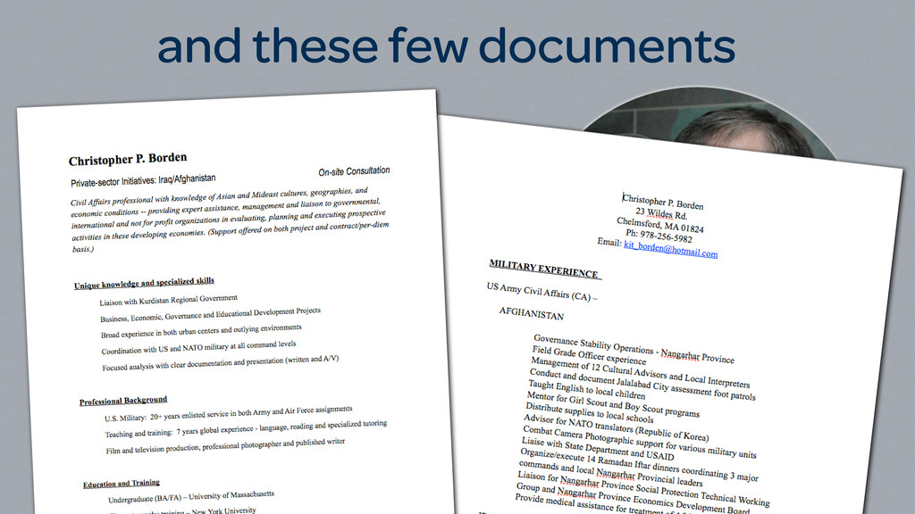 this image of Chris and these few documents