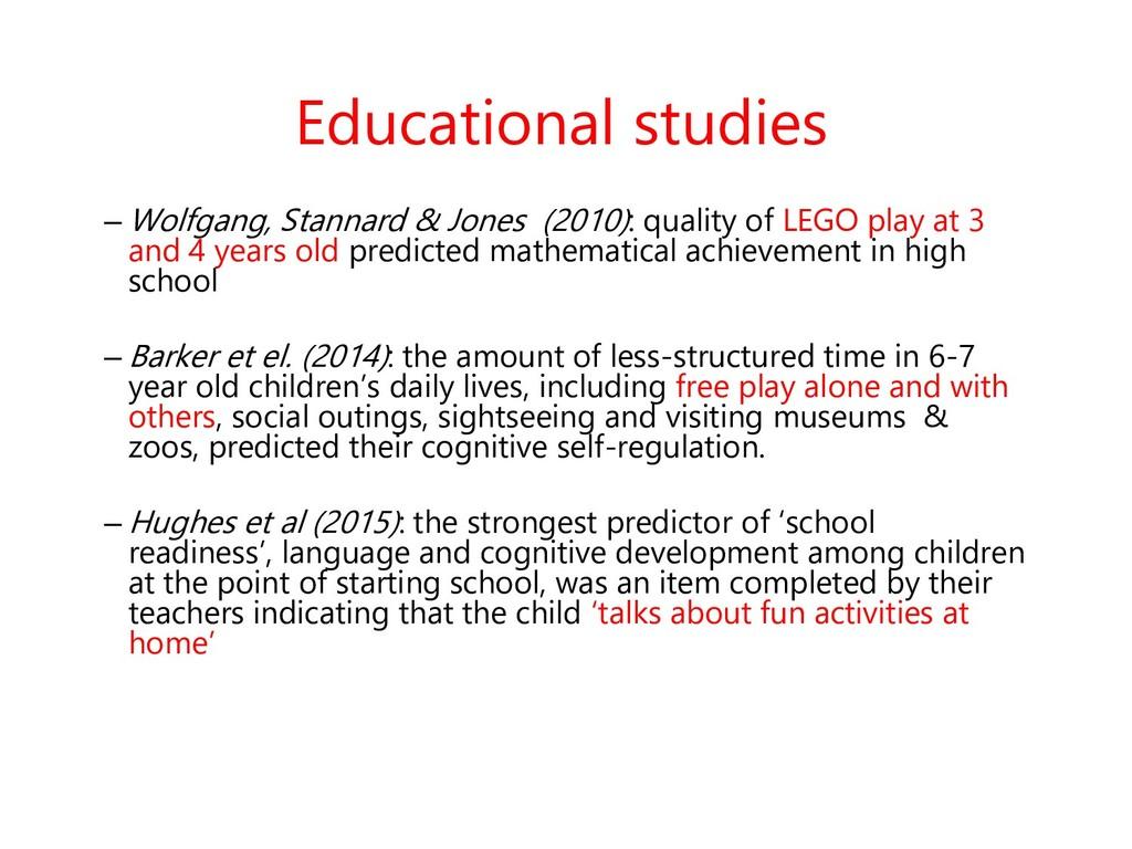 Educational studies – Wolfgang, Stannard & Jone...