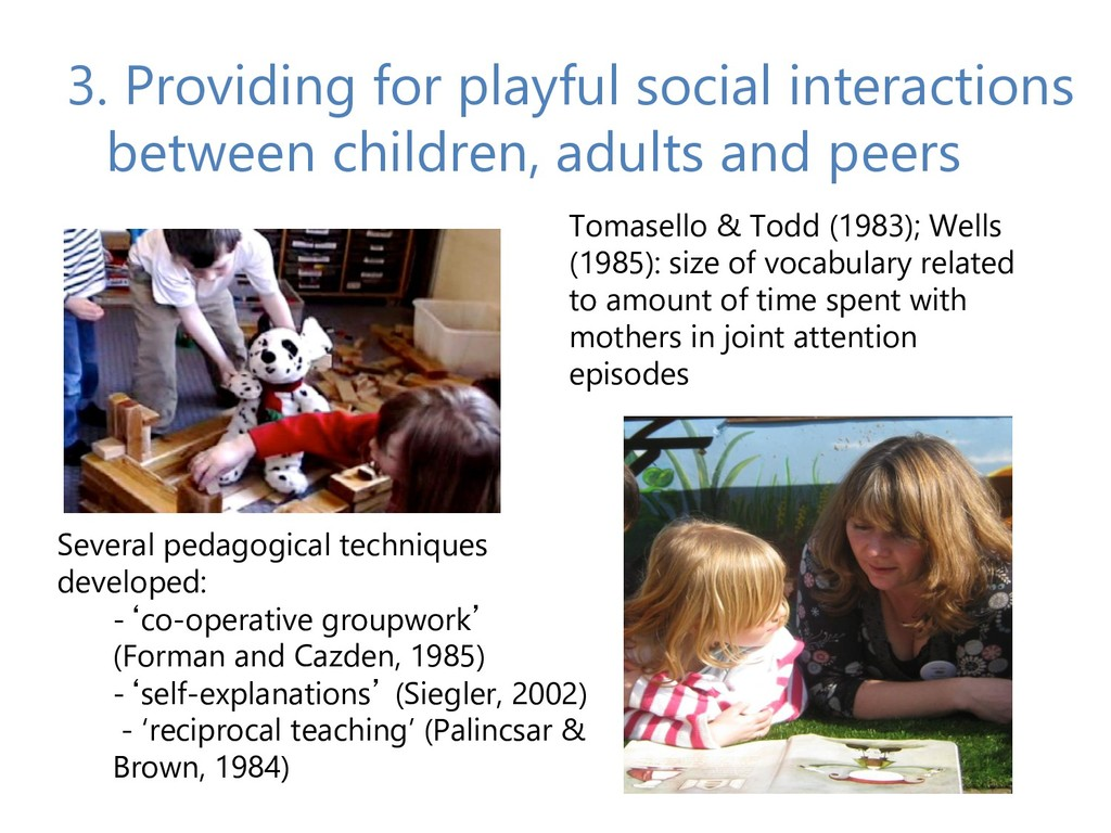 3. Providing for playful social interactions be...