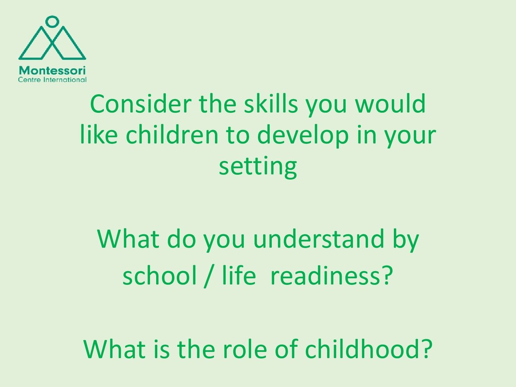 Consider the skills you would like children to ...