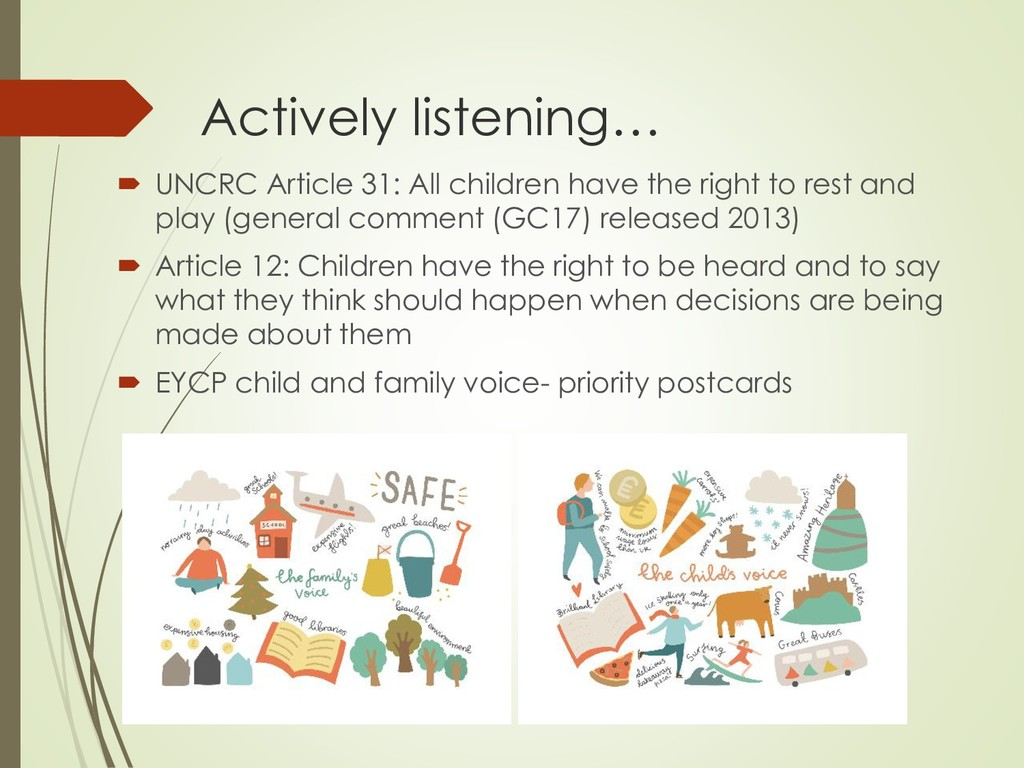 Actively listening…  UNCRC Article 31: All chi...