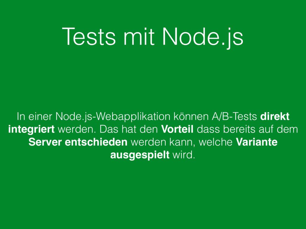 Tests mit Node.js In einer Node.js-Webapplikati...