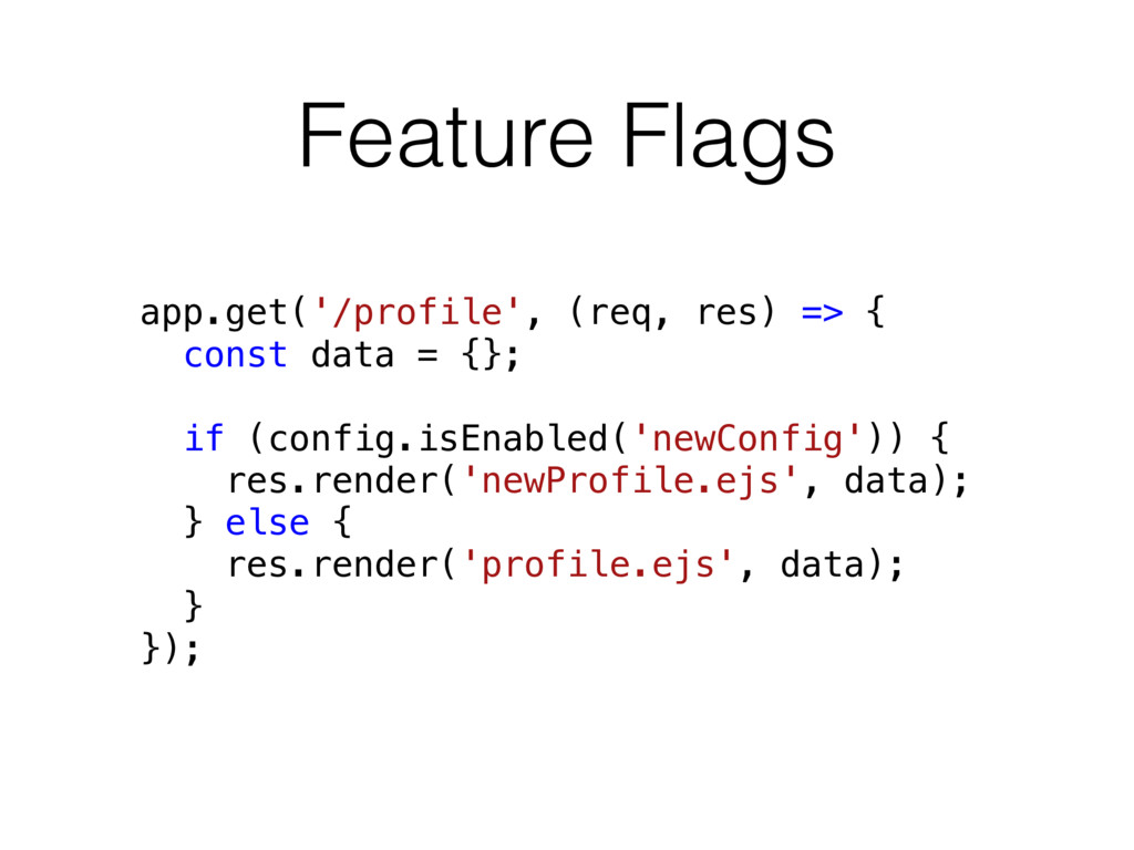 Feature Flags app.get('/profile', (req, res) =>...
