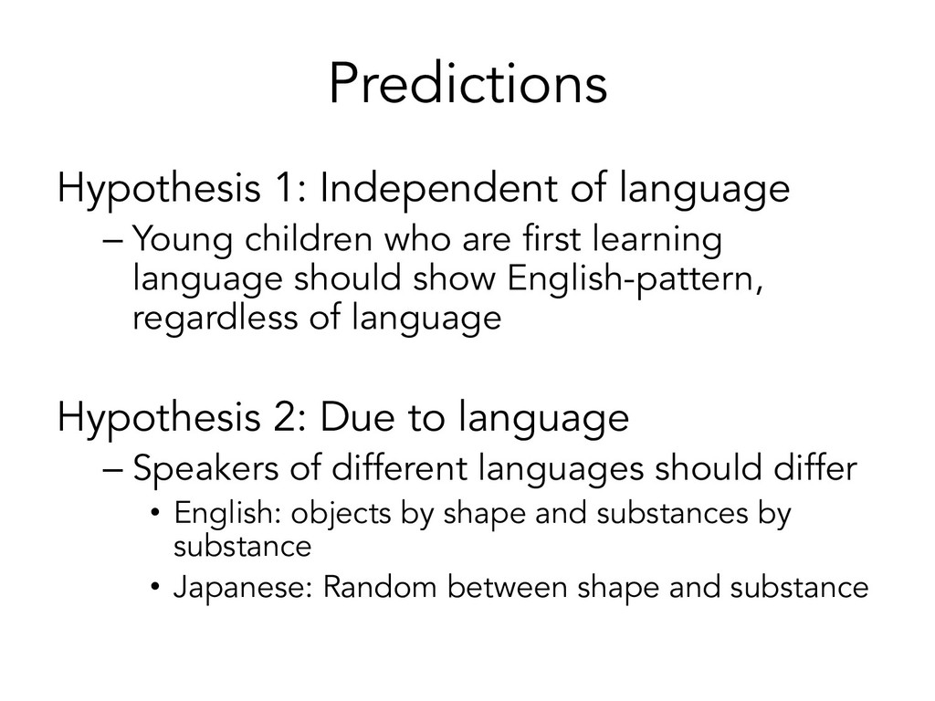 Predictions Hypothesis 1: Independent of langua...