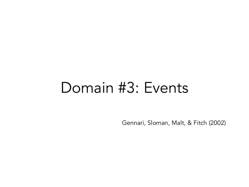 Domain #3: Events Gennari, Sloman, Malt, & Fitc...