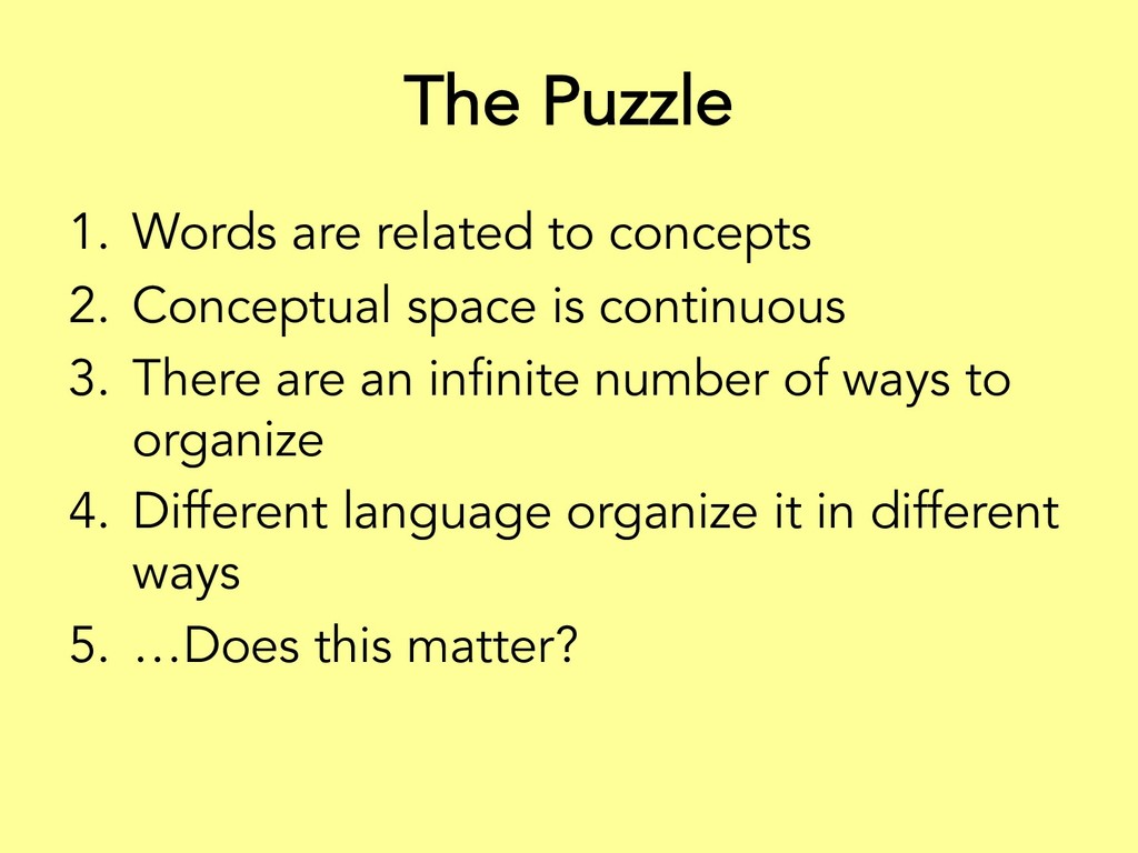The Puzzle 1. Words are related to concepts 2. ...