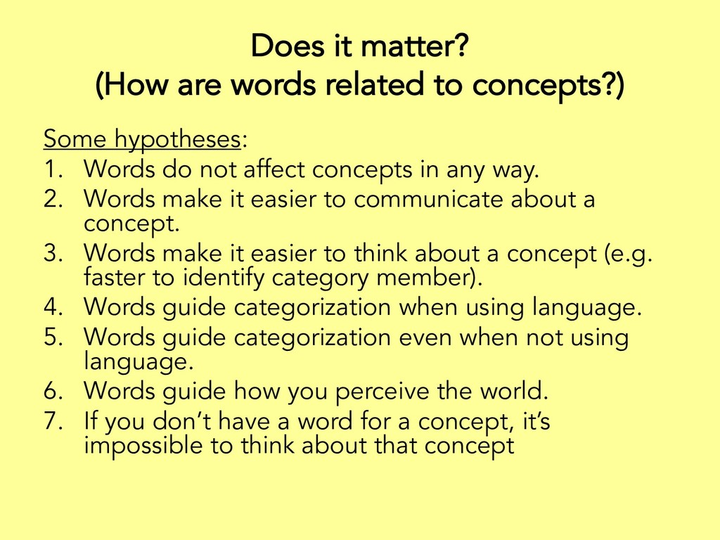 Does it matter? (How are words related to conce...