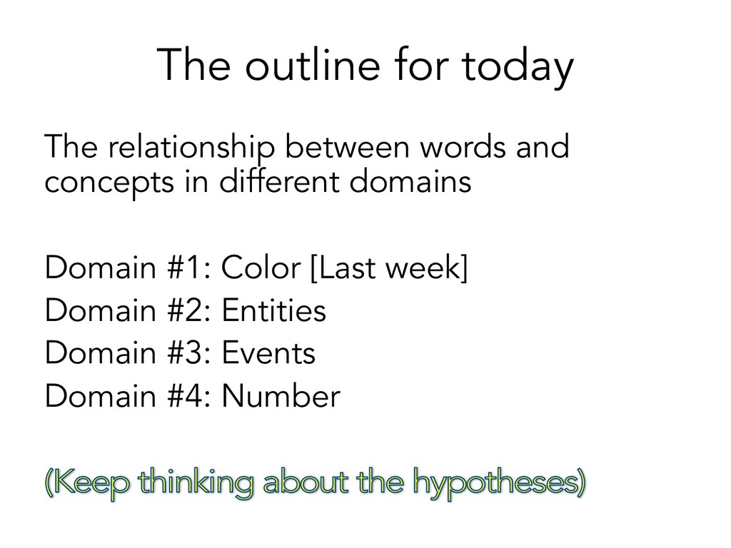 The outline for today The relationship between ...
