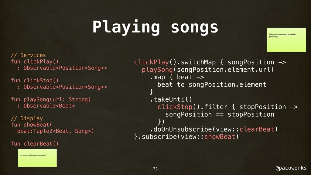 @pacoworks Playing songs 32 // Services fun cli...