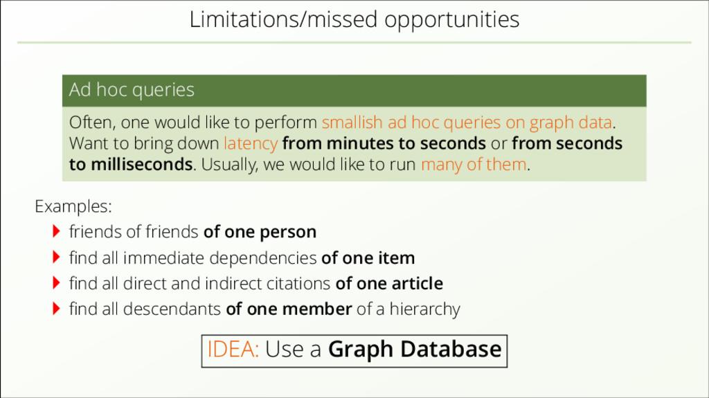 Limitations/missed opportunities Ad hoc queries...
