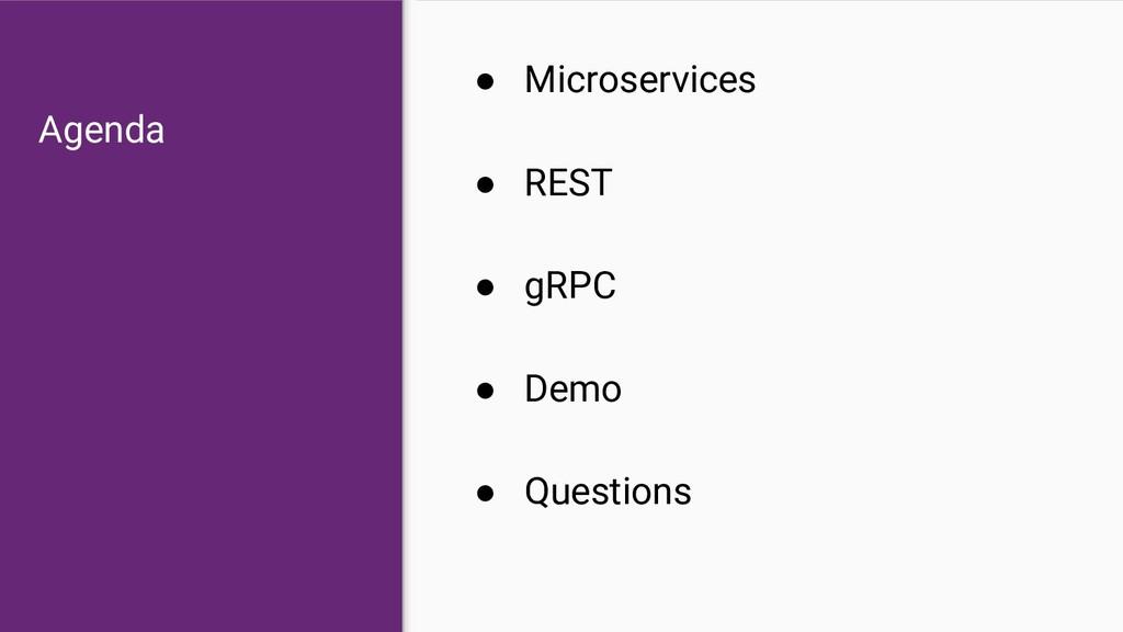 Agenda ● Microservices ● REST ● gRPC ● Demo ● Q...