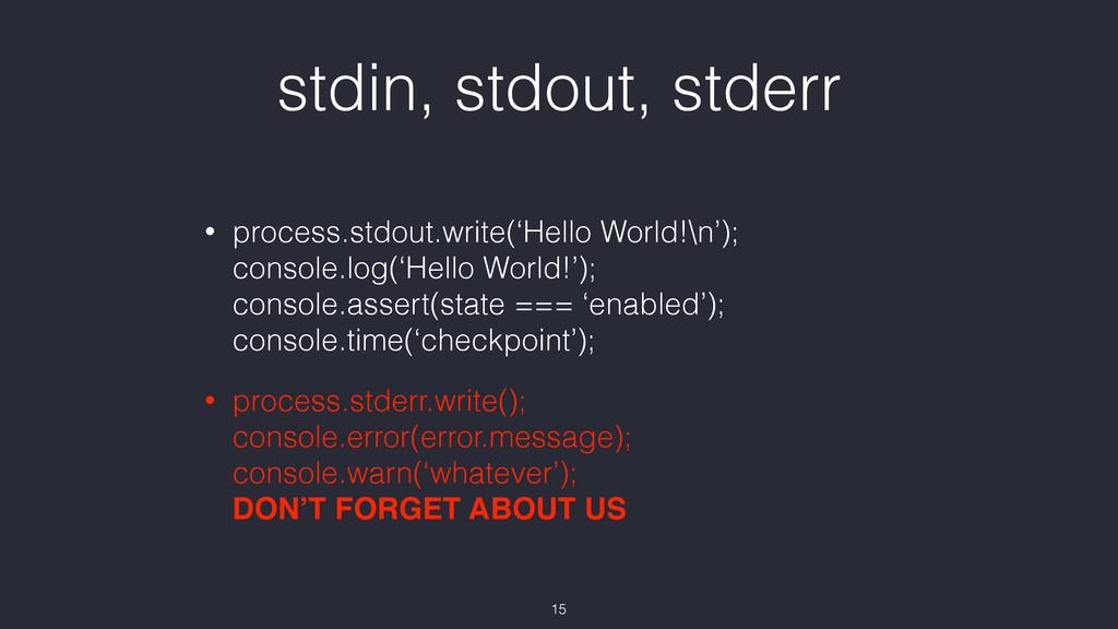 stdin, stdout, stderr • process.stdout.write('H...