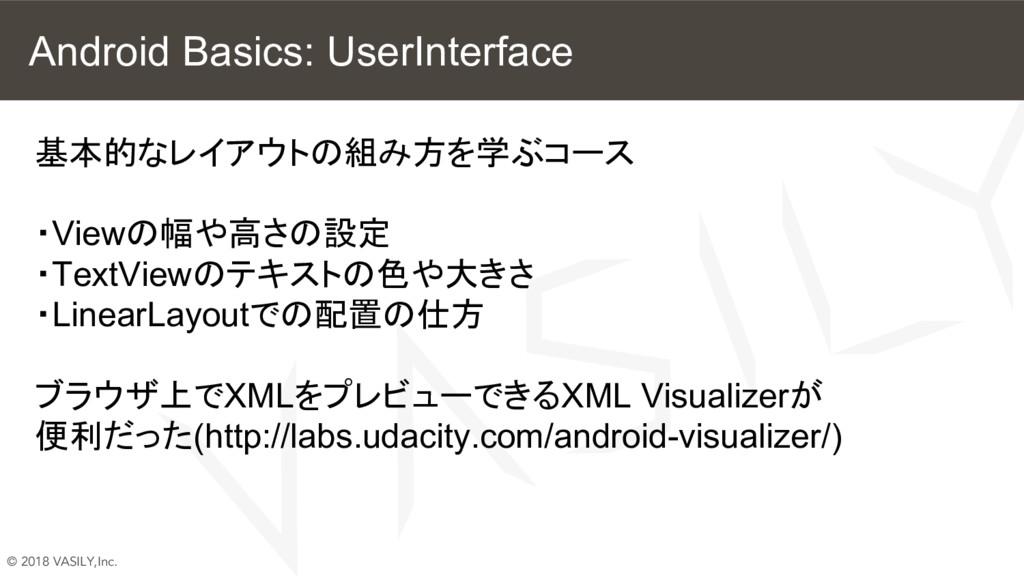 © 2018 VASILY,Inc. Android Basics: UserInterfac...
