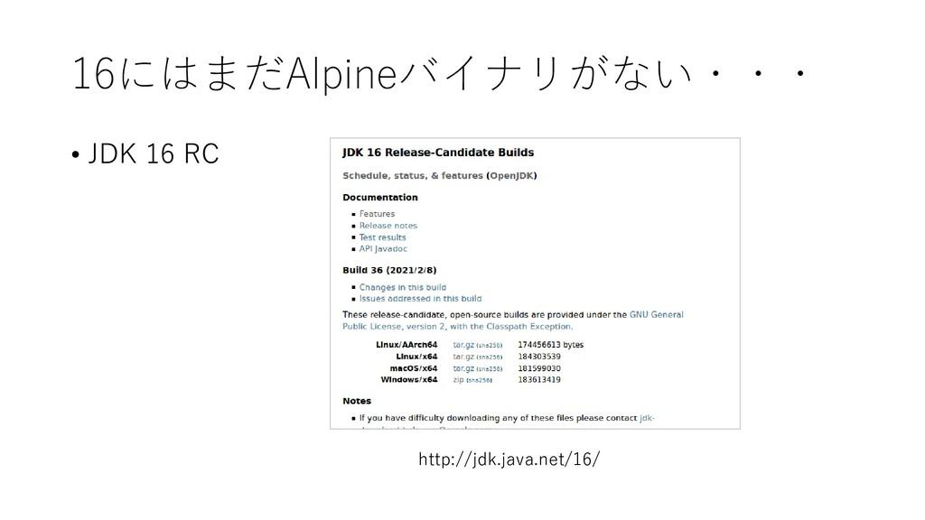 16にはまだAlpineバイナリがない・・・ • JDK 16 RC http://jdk.j...