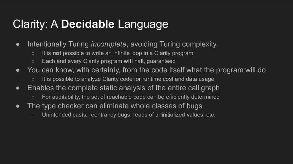 Clarity: A Decidable Language ● Intentionally T...