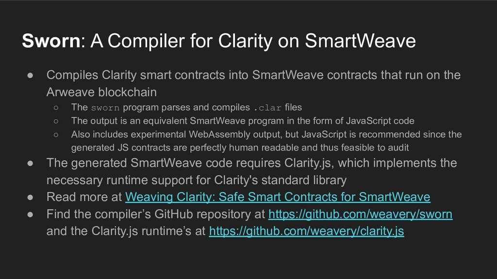 Sworn: A Compiler for Clarity on SmartWeave ● C...