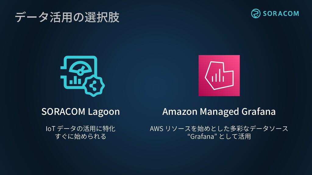 データ活用の選択肢 SORACOM Lagoon Amazon Managed Grafana...