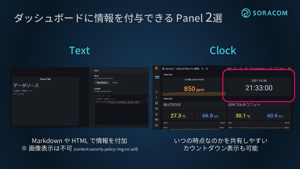 ダッシュボードに情報を付与できる Panel 2選 Text Clock Markdown や...