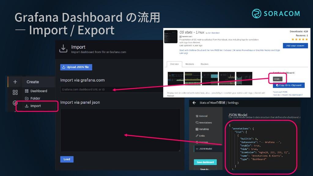 Grafana Dashboard の流用 ― Import / Export