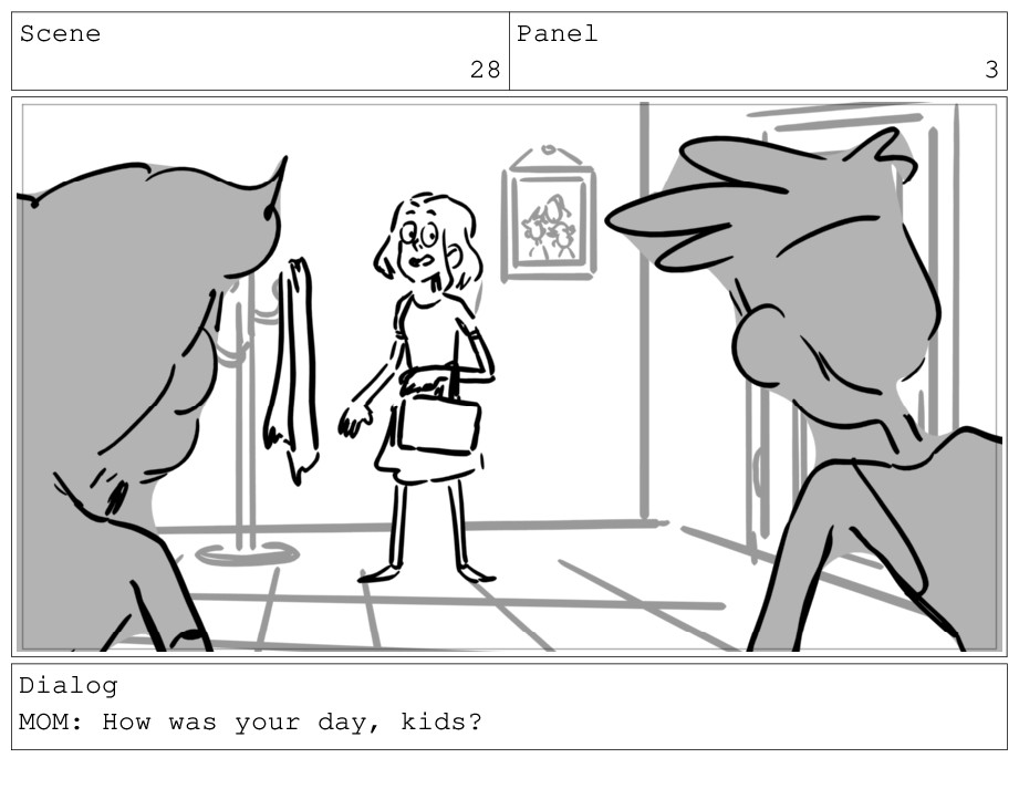Scene 28 Panel 3 Dialog MOM: How was your day, ...