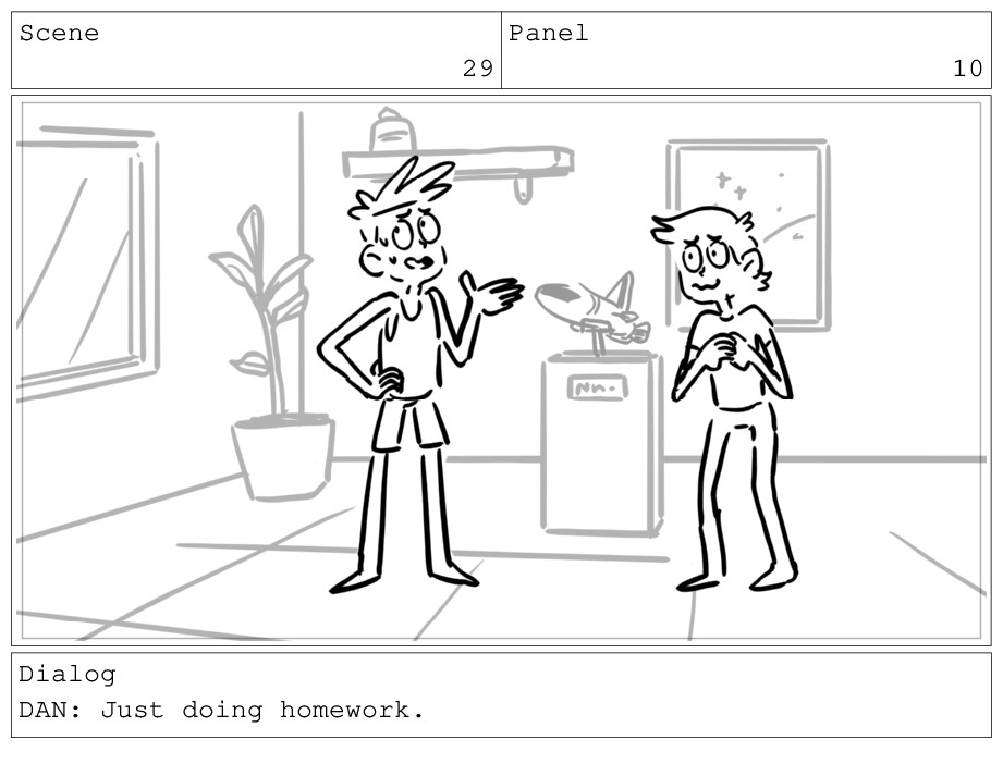 Scene 29 Panel 10 Dialog DAN: Just doing homewo...