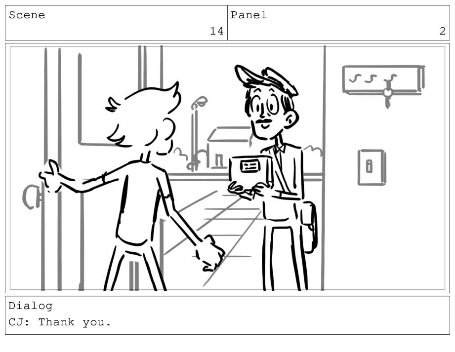 Scene 14 Panel 2 Dialog CJ: Thank you.