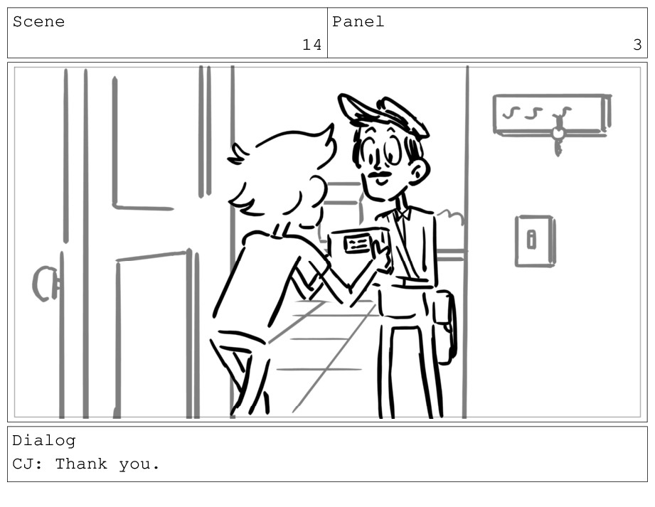 Scene 14 Panel 3 Dialog CJ: Thank you.