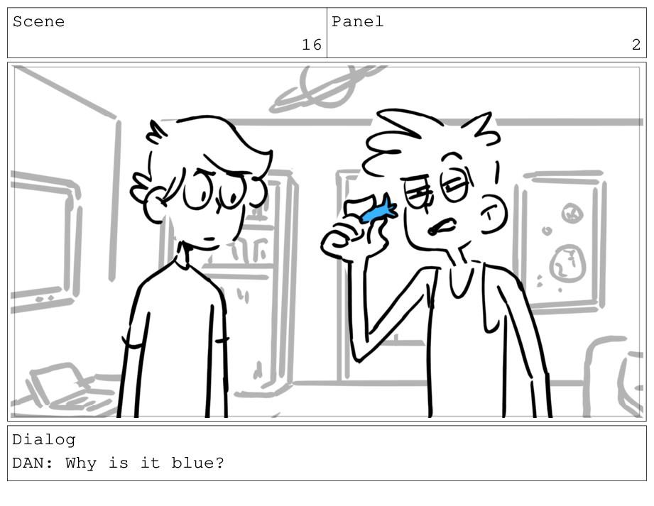 Scene 16 Panel 2 Dialog DAN: Why is it blue?