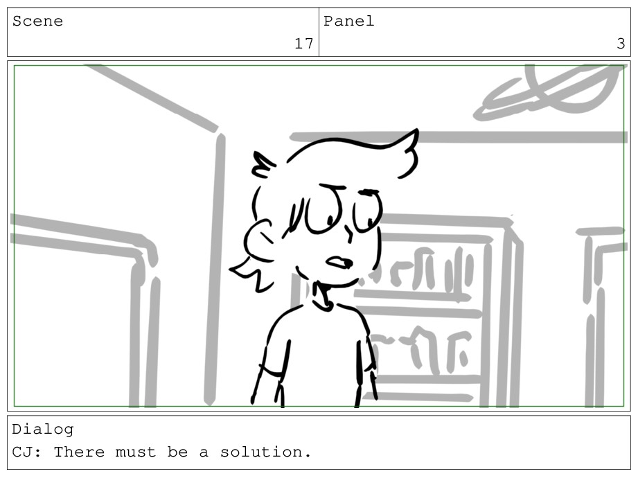 Scene 17 Panel 3 Dialog CJ: There must be a sol...