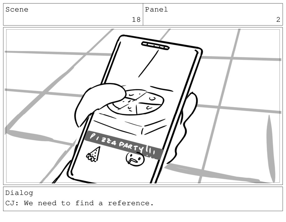Scene 18 Panel 2 Dialog CJ: We need to find a r...