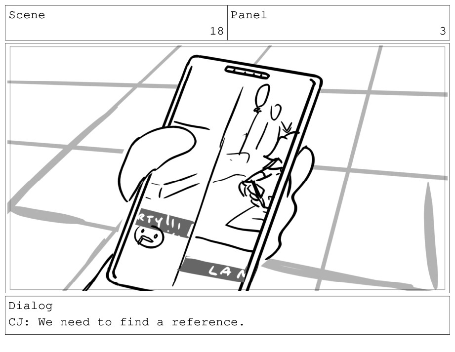 Scene 18 Panel 3 Dialog CJ: We need to find a r...