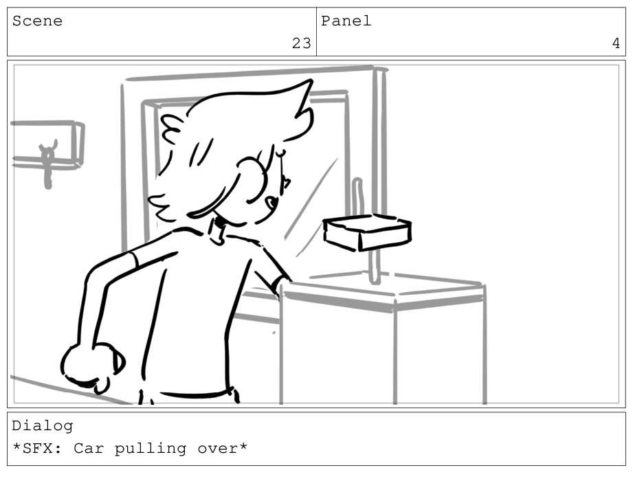 Scene 23 Panel 4 Dialog *SFX: Car pulling over*