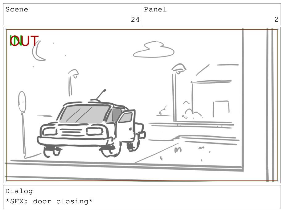 Scene 24 Panel 2 Dialog *SFX: door closing*