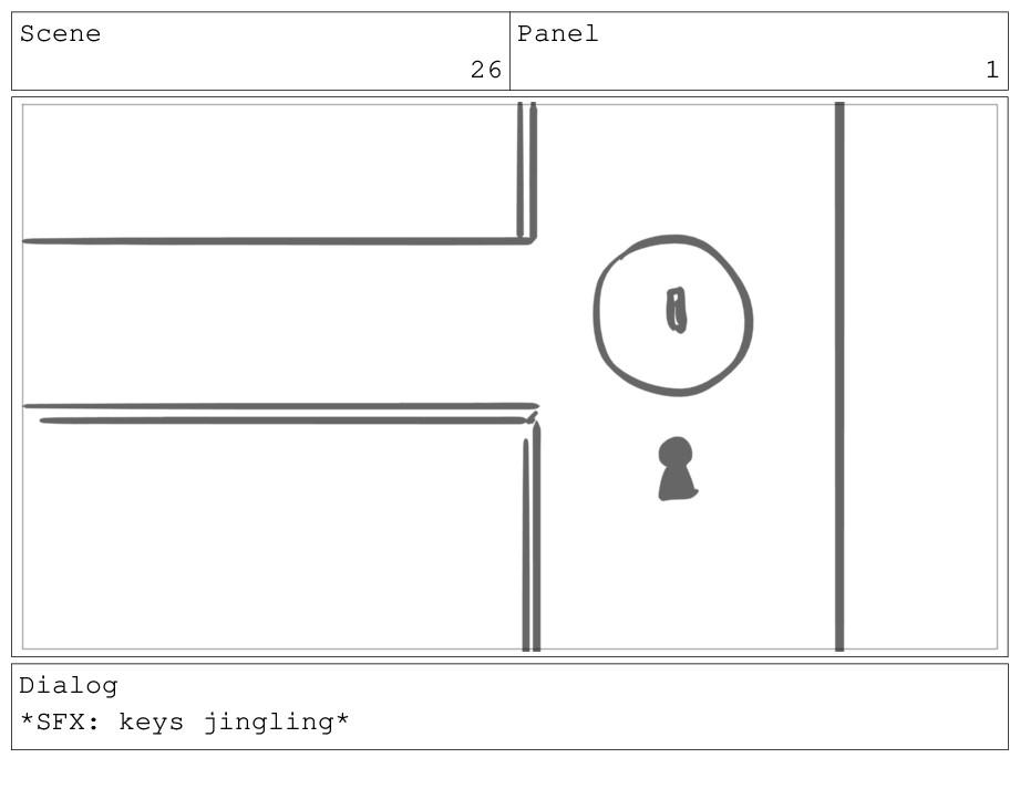 Scene 26 Panel 1 Dialog *SFX: keys jingling*