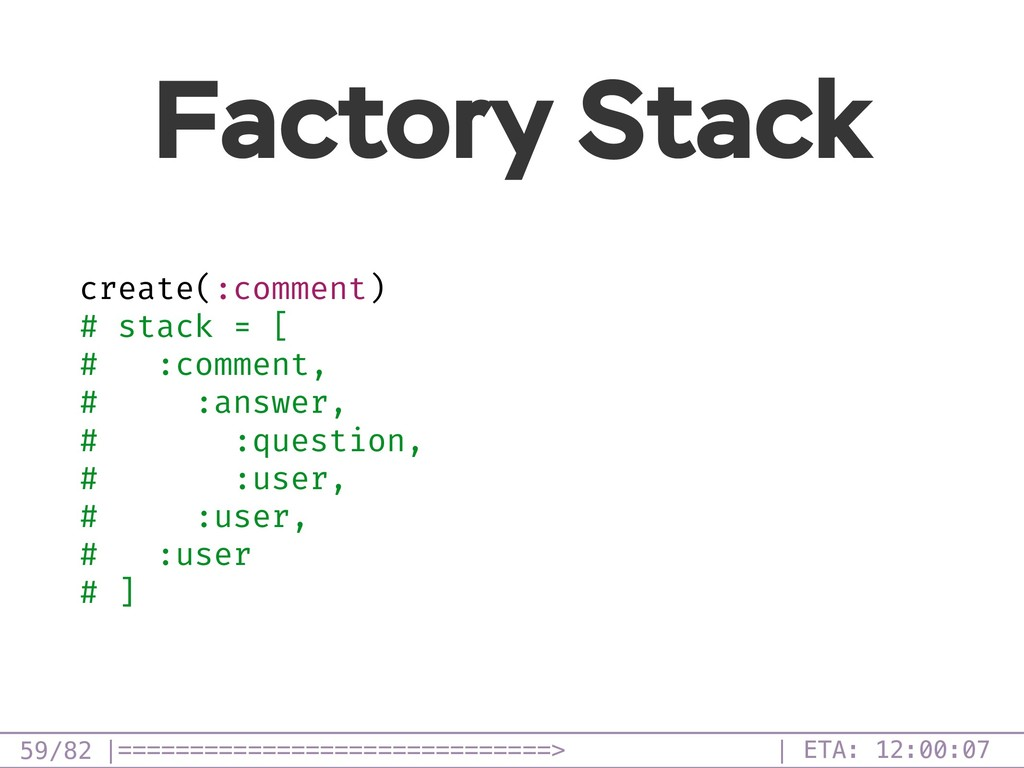 /82 Factory Stack 59 create(:comment) # stack =...
