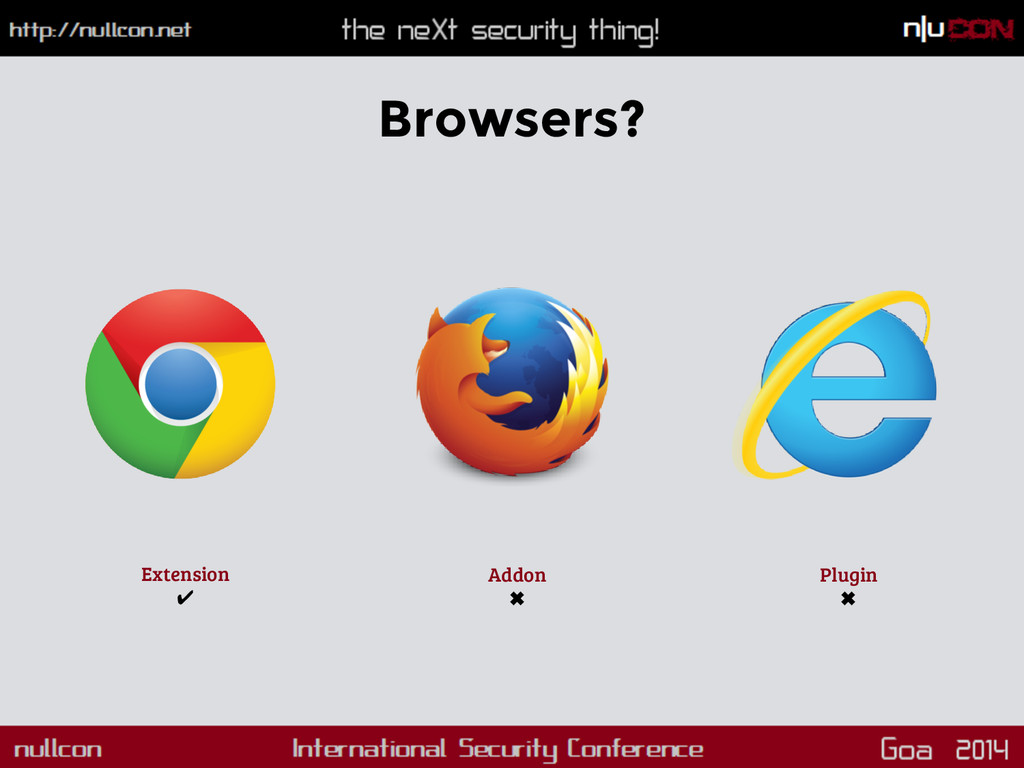 Browsers? Extension ✔ Addon ✖ Plugin ✖