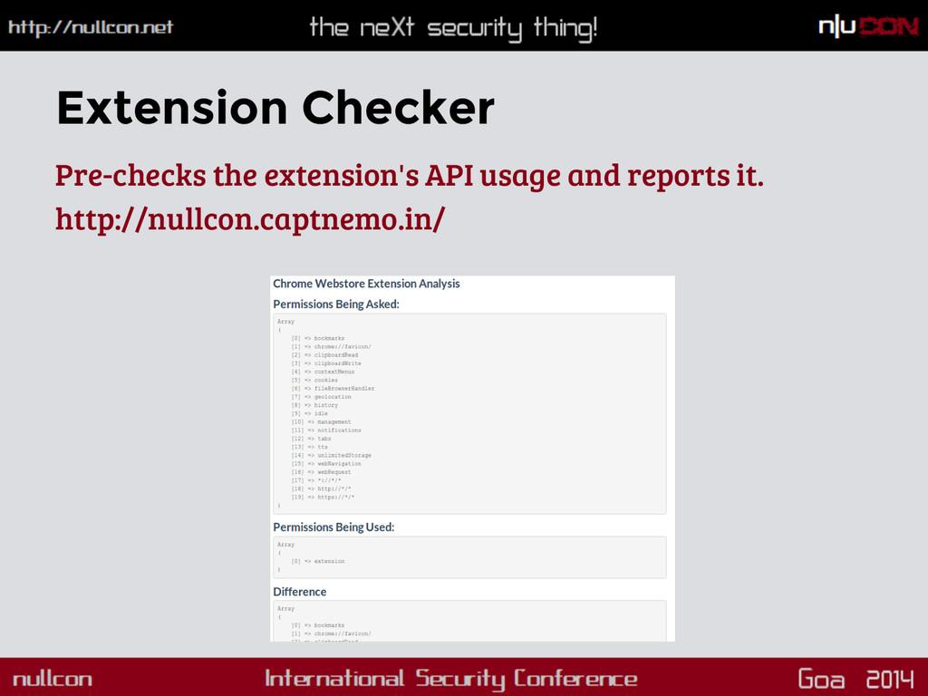 Extension Checker Pre-checks the extension's AP...