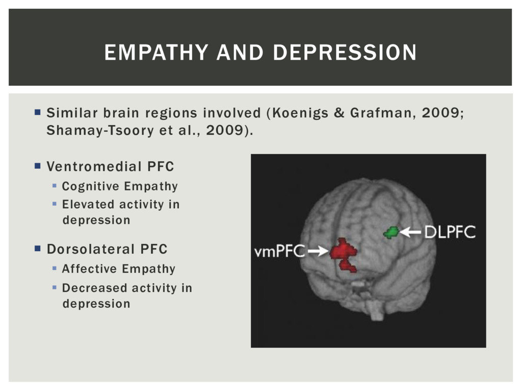 EMPATHY AND DEPRESSION ¡  Similar brain regions...