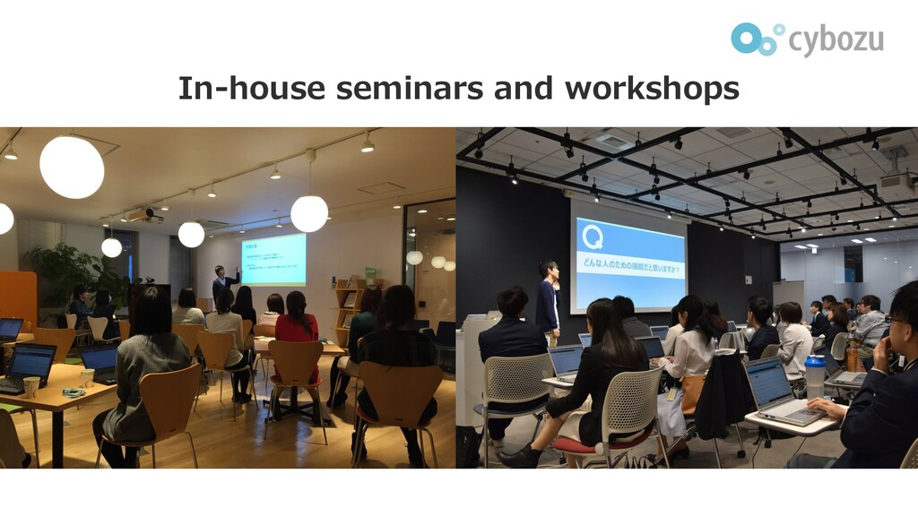 In-house seminars and workshops 本の写真を⼊れる