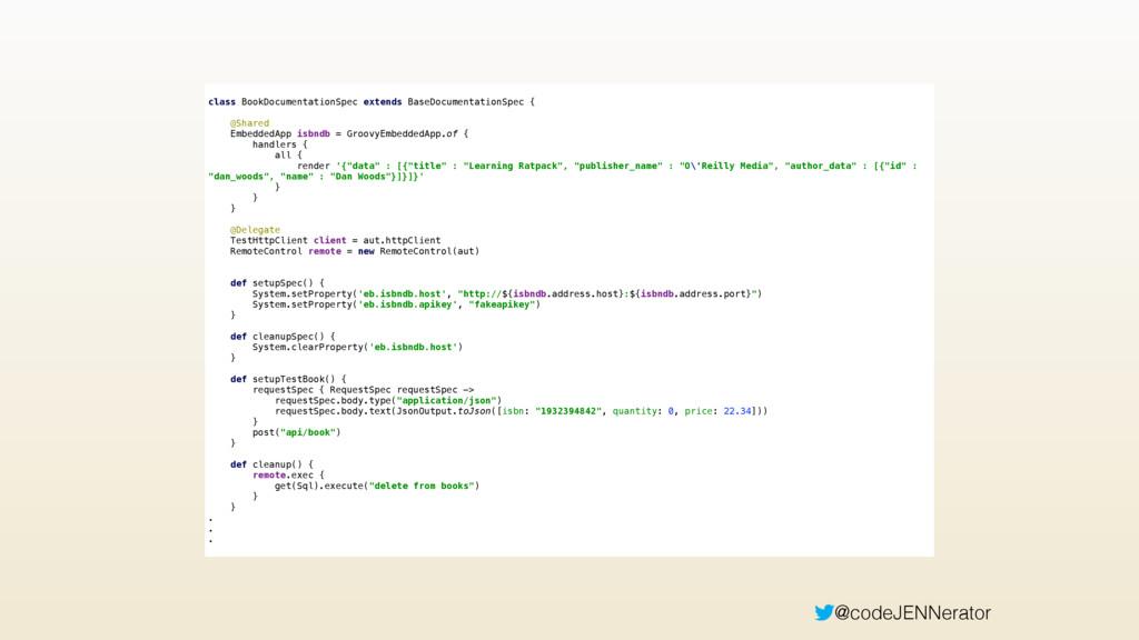 @codeJENNerator class BookDocumentationSpec ext...