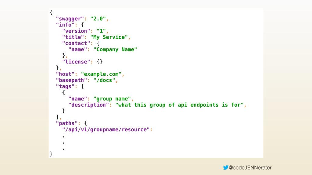 "@codeJENNerator Custom JSON { ""swagger"": ""2.0""..."