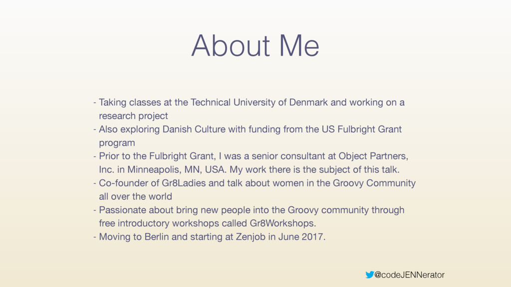 @codeJENNerator About Me - Taking classes at th...