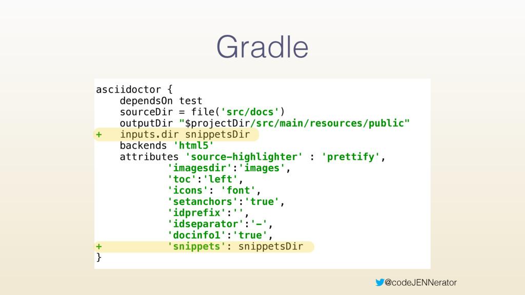 @codeJENNerator Gradle asciidoctor { dependsOn...