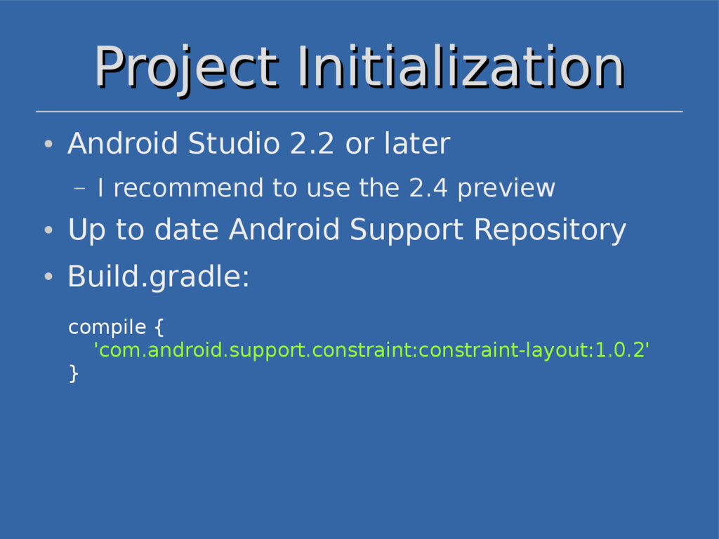 Project Initialization Project Initialization c...