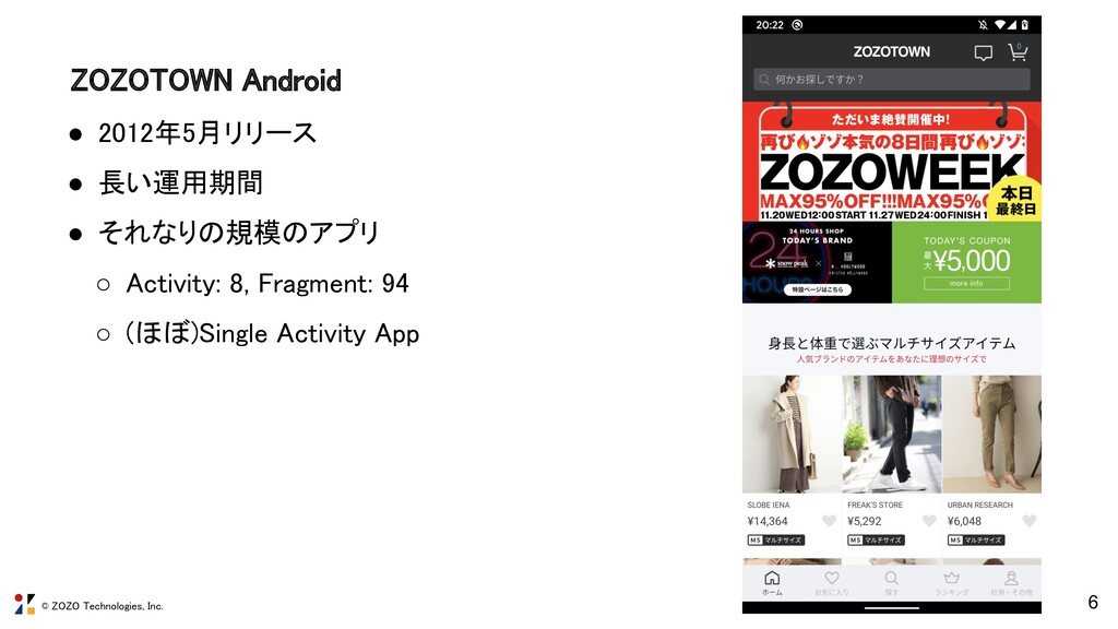 © ZOZO Technologies, Inc. ZOZOTOWN Android 6 ●...