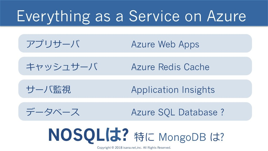 Everything as a Service on Azure NOSQLは? 特に Mon...