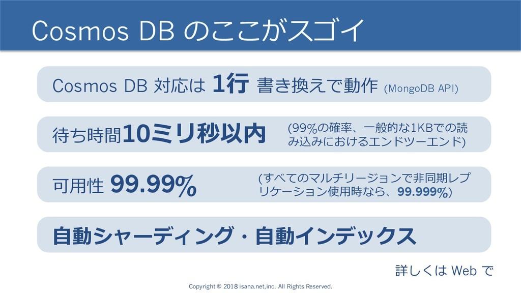 Cosmos DB のここがスゴイ Cosmos DB 対応は 1⾏ 書き換えで動作 (Mon...